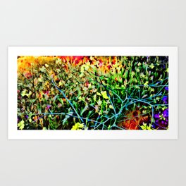 Painted image of flower color explosion on canvas Art Print