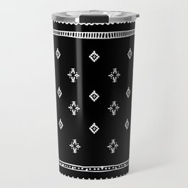Rhombus & Lines White on Black Travel Mug