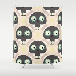 Cute pattern with funny skulls and flowers Shower Curtain