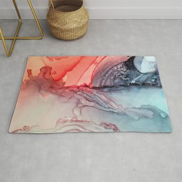 Undertow Meets Lava- Alcohol Ink Painting Rug