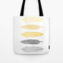 5 Grey & Gold Feathers Tote Bag