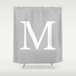 Silver Gray Basic Monogram M Shower Curtain