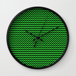 Mini Dark Black and Bright Monster Green Halloween Chevron Stripes Wall Clock