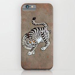 Minhwa: Tiger White Type (Korean traditional/folk art) iPhone Case