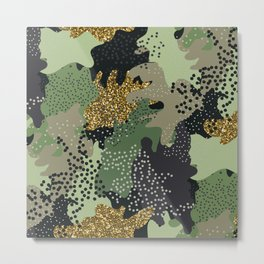 Modern Camouflage seamless pattern in a shades of green, gold glitter, brown, beige colors illustration pattern Metal Print