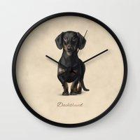 dachshund Wall Clocks featuring Dachshund by Gosia