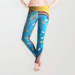 Blue Donut on Yellow Background Leggings