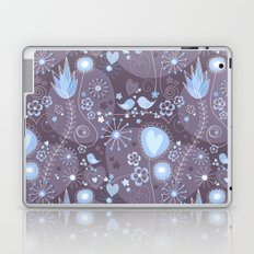 Whimsical garden in grey and blue Laptop & iPad Skin