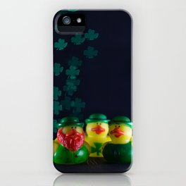 Happy St. Patrick's Day with St. Patrick's Day Rubber Ducks and Shamrock Shaped Bokeh iPhone Case
