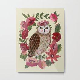 Floral Owl Metal Print