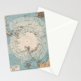 Vintage Antarctica Exploration Routes Map (1906) Stationery Cards