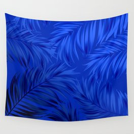 Palm Tree Fronds Brilliant Blue on Blue Hawaii Tropical Décor Wall Tapestry