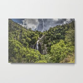 Storm at Aber falls wales uk Metal Print