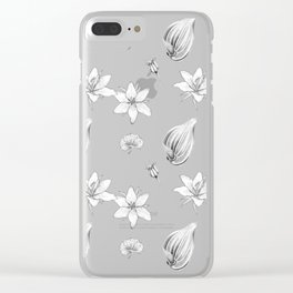 Flowers, Leaves and Seeds Hand Drawn Nature Pattern Clear iPhone Case