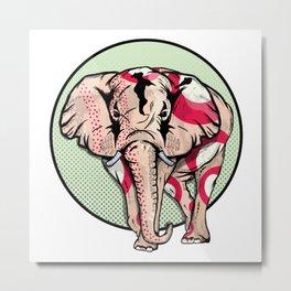 Red Spots Elephant Metal Print
