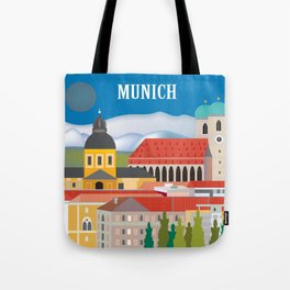 Munich, Germany - Skyline Illustration by Loose Petals Tote Bag