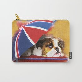English Bulldog Puppy with umbrella Carry-All Pouch