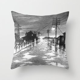Rainy evening at the exit of the village Throw Pillow