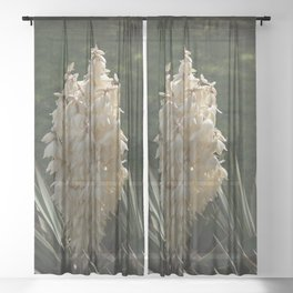 Yucca Plant Blooming Sheer Curtain