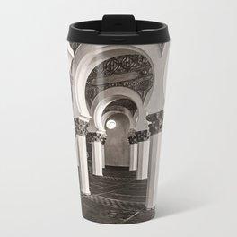 The Historic Arches in the Synagogue of Santa María la Blanca, Toledo Spain (3) Metal Travel Mug
