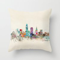 cleveland Throw Pillows featuring cleveland ohio by bri.buckley