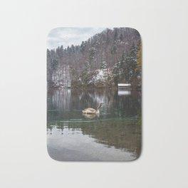 Swans on the Apsee lake, Bavrian alps II Bath Mat