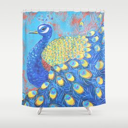 Peacock: Grace Under Fire Shower Curtain