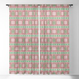 Christmas weed sweater Sheer Curtain