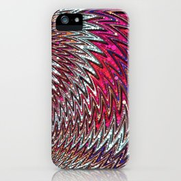 lark - bright red purple white feather motif abstract design iPhone Case