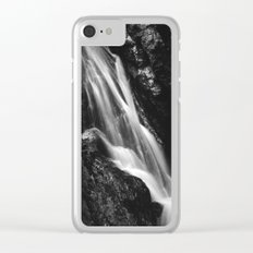 Black and white waterfall in Hell Gorge, Slovenia Clear iPhone Case