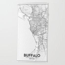 Minimal City Maps - Map Of Buffalo, New York, United States Beach Towel