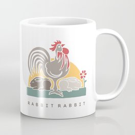 Rabbit Rabbit Year of the Rooster Illustration Coffee Mug