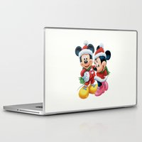 minnie mouse Laptop & iPad Skins featuring Christmas Mickey and Minnie Mouse by Yuliya L