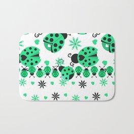 Cute Ladybugs green Bath Mat