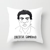 childish gambino Throw Pillows featuring Childish Gambino by ☿ cactei ☿