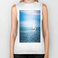 sailboat Biker Tanks featuring Howth sailboat by Alyson Cornman Photography