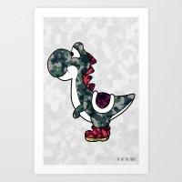 yoshi Art Prints featuring Yoshi  by Adel