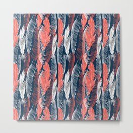 Beautiful vector seamless graphic pattern of feathers Metal Print