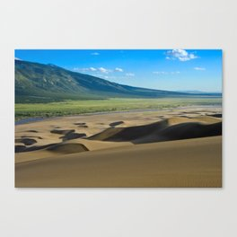 Great Sand Dunes against mountains Canvas Print