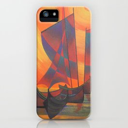 Red Sails in the Sunset Cubist Junk Abstract iPhone Case