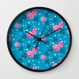 Roses on blue Wall Clock
