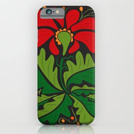 Big Red Dahlia (abstract hand-drawn flower) iPhone Case