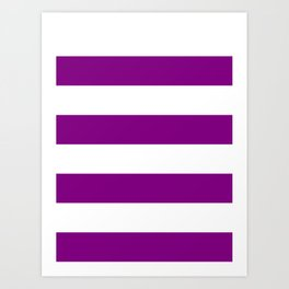 Wide Horizontal Stripes - White and Purple Violet Art Print