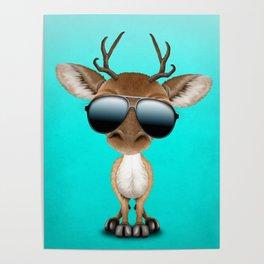 Cute Baby Deer Wearing Sunglasses Poster