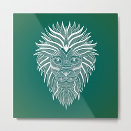 Lion Bee Manuality Green Metal Print