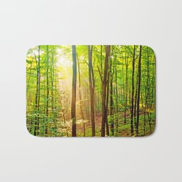 Sunbeams in the forest Bath Mat