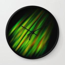 Colorful neon green brush strokes on dark gray Wall Clock