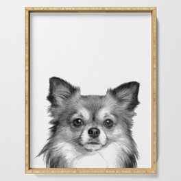 Black and White Chihuahua Serving Tray