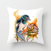 gemma correll Throw Pillows featuring Magpie by Gemma Pallat by ToraSumi
