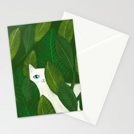 Jungle Cat white cat in leaves artwork by Tascha Stationery Cards